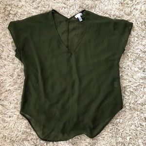 Beautiful 14th &union olive green sheer top